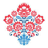 Πολωνικό λαϊκό σχέδιο τέχνης με τα λουλούδια - wzory lowickie, wycinanka Στοκ εικόνες με δικαίωμα ελεύθερης χρήσης