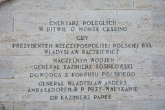 Πολωνικό νεκροταφείο σε Montecassino Στοκ Εικόνα