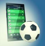 Ποδόσφαιρο και νέα τεχνολογία επικοινωνιών Στοκ φωτογραφία με δικαίωμα ελεύθερης χρήσης