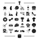 Ποδόσφαιρο, ορυχείο, εγκυμοσύνη και άλλο εικονίδιο Ιστού στο μαύρο ύφος Πίστη, αγροτικά εικονίδια στην καθορισμένη συλλογή διανυσματική απεικόνιση