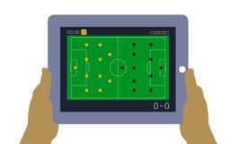 Ποδόσφαιρο Παγκόσμιου Κυπέλλου στην ταμπλέτα διανυσματική απεικόνιση