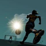 Ποδόσφαιρο που τρέχει με τη σφαίρα Στοκ φωτογραφίες με δικαίωμα ελεύθερης χρήσης