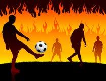 Ποδόσφαιρο/ποδοσφαιριστής στο υπόβαθρο πυρκαγιάς κόλασης απεικόνιση αποθεμάτων