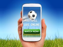 Ποδόσφαιρο ρολογιών σε απευθείας σύνδεση Στοκ φωτογραφίες με δικαίωμα ελεύθερης χρήσης