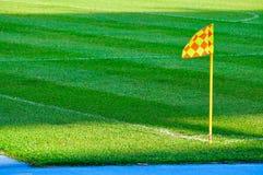 ποδόσφαιρο σημαιών πεδίων γωνιών Στοκ Εικόνα