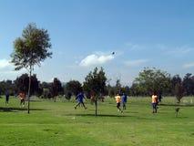 Ποδόσφαιρο στο πάρκο Στοκ Εικόνες