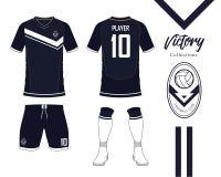 Ποδόσφαιρο Τζέρσεϋ ή συλλογή εξαρτήσεων ποδοσφαίρου στην έννοια νίκης Χλεύη πουκάμισων ποδοσφαίρου επάνω Μπροστινό και πίσω ποδόσ απεικόνιση αποθεμάτων