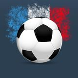 Ποδόσφαιρο 2016 της Γαλλίας Σφαίρα ποδοσφαίρου σε ένα μπλε υπόβαθρο Γαλλικά χρώματα σημαιών διάνυσμα Στοκ Φωτογραφίες