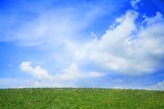Πολύβλαστο, πράσινο τοπίο με το μπλε ουρανό και σύννεφα. Στοκ Εικόνες
