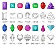 Πολύτιμοι λίθοι και σύνολο γραμμών περικοπών Διαφορετικές απόψεις για τα κρύσταλλα Συλλογή κοσμήματος Στοκ Εικόνες