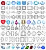 Πολύτιμο σύνολο πετρών πολύτιμων λίθων περικοπών μορφών Στοκ Εικόνα