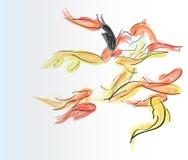 Πολύχρωμα μικρά ψάρια σε ένα υδατόχρωμα Στοκ εικόνα με δικαίωμα ελεύθερης χρήσης