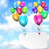 Πολύχρωμα μπαλόνια με την κάρτα εγγράφου Στοκ Εικόνες