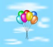 Πολύχρωμα μπαλόνια που πετούν στο μπλε ουρανό διανυσματική απεικόνιση