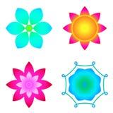 Πολύχρωμα λουλούδια, σύνολο λωτού Στοκ εικόνα με δικαίωμα ελεύθερης χρήσης