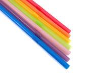 Πολύχρωμα πλαστικά άχυρα, σωλήνες Στοκ εικόνα με δικαίωμα ελεύθερης χρήσης