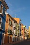 Πολύχρωμα σπίτια Villajoyosa, Ισπανία Στοκ Εικόνες