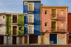 Πολύχρωμα τρία σπίτια Villajoyosa, Ισπανία Στοκ Φωτογραφίες