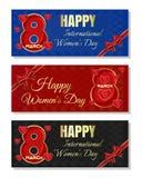 Πολύχρωμα υπόβαθρα για Women& x27 ημέρα του s Ευτυχές διεθνές Women& x27 σύνολο εμβλημάτων ημέρας του s ελεύθερη απεικόνιση δικαιώματος