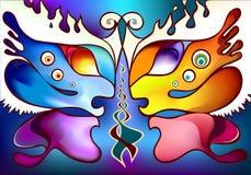 Πολύχρωμα φτερά πεταλούδων ως δύο μισά πρόσωπα Στοκ Φωτογραφία