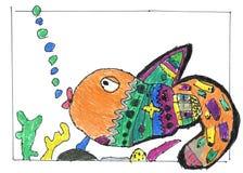 Πολύχρωμα ψάρια, χρωματισμένη χέρι εικόνα παιδιών ` s Στοκ Εικόνες
