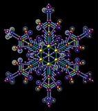 Πολύχρωμα Snowflakes τσεκιών Διανυσματική τέχνη συνδετήρων Μαύρη ανασκόπηση Στοκ Φωτογραφίες