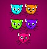 Πολύχρωμες γάτες διανυσματική απεικόνιση