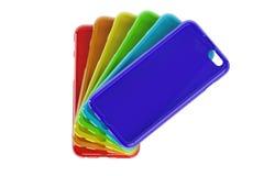 Πολύχρωμες κινητές τηλεφωνικές πλαστικές περιπτώσεις διανυσματική απεικόνιση