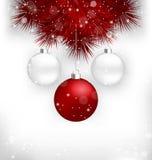 Πολύχρωμες σφαίρες Χριστουγέννων στους κόκκινους κλάδους πεύκων ελεύθερη απεικόνιση δικαιώματος