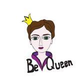 Πολύχρωμη βασίλισσα στο άσπρο υπόβαθρο Στοκ Εικόνες