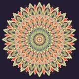 Πολύχρωμη, ινδική διακόσμηση Mandala Ανατολή, εθνικό σχέδιο, ασιατικό σχέδιο, κύκλος Για τη χρήση στο ύφασμα, τυπωμένη ύλη, δερμα Στοκ Φωτογραφία