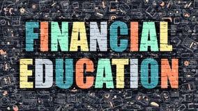 Πολύχρωμη οικονομική εκπαίδευση σε σκοτεινό Brickwall Ύφος Doodle απεικόνιση αποθεμάτων
