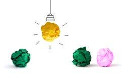 πολύχρωμη τσαλακωμένη λάμπα φωτός εγγράφου ιδέας έννοιας στην άσπρη πλάτη Στοκ φωτογραφίες με δικαίωμα ελεύθερης χρήσης