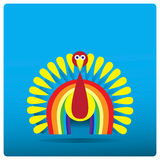 Πολύχρωμος Τουρκία-κόκκορας υπό μορφή ουράνιου τόξου για την ημέρα των ευχαριστιών Στοκ Φωτογραφίες