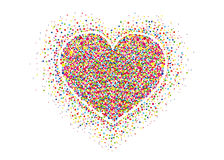 Πολύχρωμο κομφετί ουράνιων τόξων με μορφή μιας καρδιάς διάνυσμα Στοκ Εικόνα