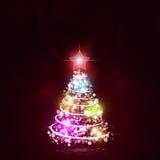 Πολύχρωμο μαγικό δέντρο Χριστουγέννων Στοκ Εικόνα