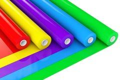 Πολύχρωμο ρόλοι ή φύλλο αλουμινίου ταινιών πολυαιθυλένιου PVC πλαστικό τρισδιάστατο renderin απεικόνιση αποθεμάτων