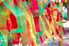 Πολύχρωμο ύφασμα, χρωματισμένο ταϊλανδικό ύφος τρία κορδελλών fabri χρώματος Στοκ φωτογραφία με δικαίωμα ελεύθερης χρήσης