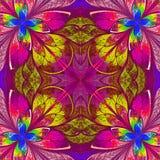 Πολύχρωμο fractal στο λεκιασμένο ύφος παραθύρων γυαλιού. Στοκ Φωτογραφία