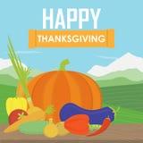 Πολύ ευτυχής ημέρα των ευχαριστιών στο ξύλο Διανυσματική απεικόνιση