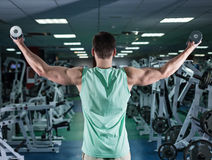 πολύ ο αθλητικός τύπος δύναμης bodybuilder, εκτελεί την άσκηση με το dumbb Στοκ Εικόνες