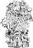 Πολύ πολυάσχολος τονισμένος μαθητής ελεύθερη απεικόνιση δικαιώματος
