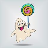 Πολύ χαριτωμένο αστείο φάντασμα που παρουσιάζει γλώσσα Τέχνη έννοιας Στοκ Εικόνες
