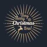 Πολύ χρονική εγγραφή Χαρούμενα Χριστούγεννας Χρυσή κάρτα συγχαρητηρίων Στοκ Εικόνες