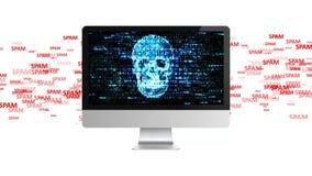 Πολύ spam Ένα μεγάλο ποσό spam επιτίθεται από έναν υπολογιστή ελεύθερη απεικόνιση δικαιώματος