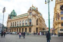 25 01 2018 Πράγα, Δημοκρατία της Τσεχίας - άποψη στην οδό στον παλαιό Στοκ εικόνα με δικαίωμα ελεύθερης χρήσης