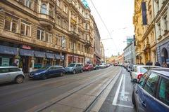 25 01 2018 Πράγα, Δημοκρατία της Τσεχίας - άποψη στην οδό στον παλαιό Στοκ φωτογραφίες με δικαίωμα ελεύθερης χρήσης