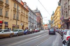 25 01 2018 Πράγα, Δημοκρατία της Τσεχίας - άποψη στην οδό στον παλαιό Στοκ Φωτογραφίες
