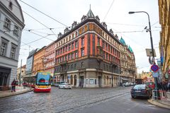 25 01 2018 Πράγα, Δημοκρατία της Τσεχίας - άποψη στην οδό στον παλαιό Στοκ εικόνες με δικαίωμα ελεύθερης χρήσης
