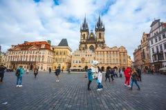 25 01 2018 Πράγα, Δημοκρατία της Τσεχίας - παλαιές πλατεία της πόλης και εκκλησία ο Στοκ Εικόνα